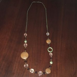 Long brown stone/crystal necklace